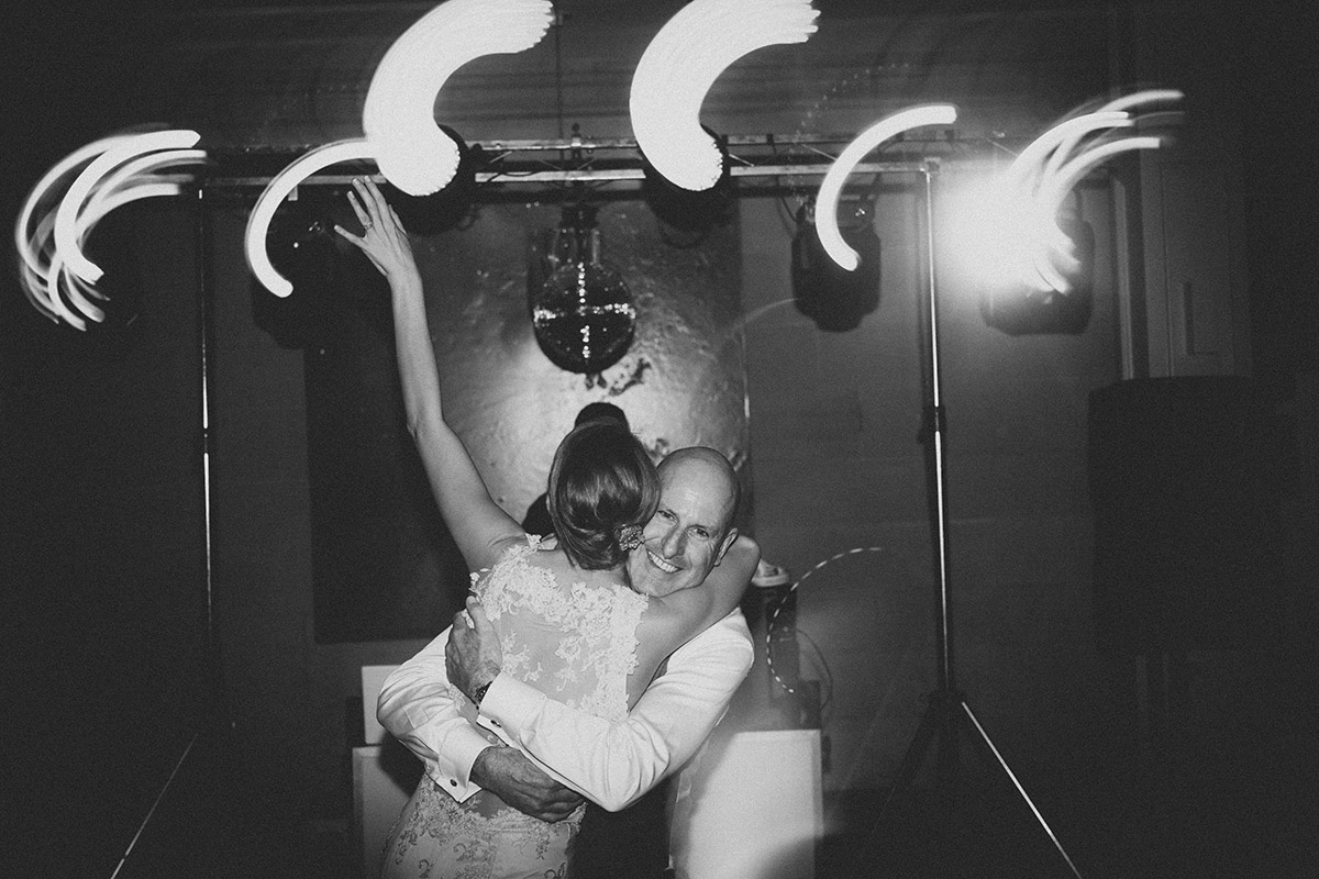 B&W Bride and Dad Dance Floor Photographs
