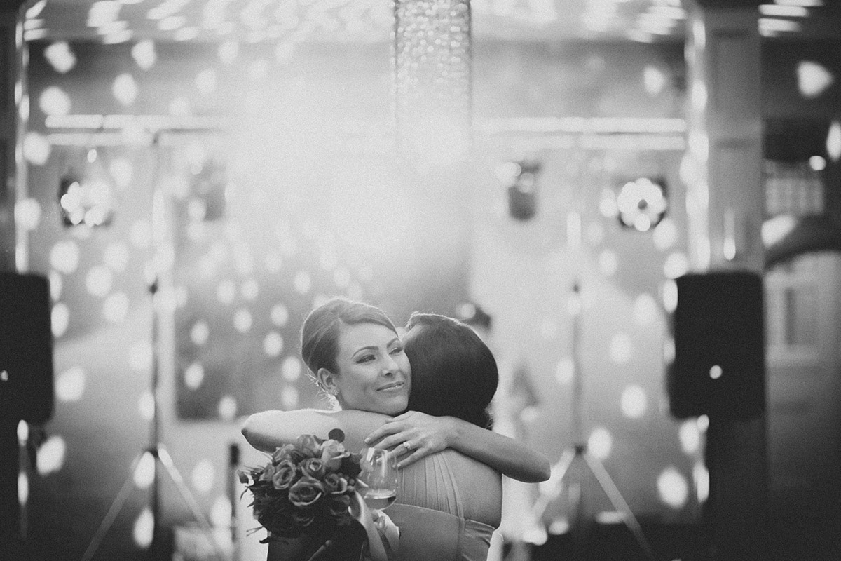 Bride and Bridesmaid Hug