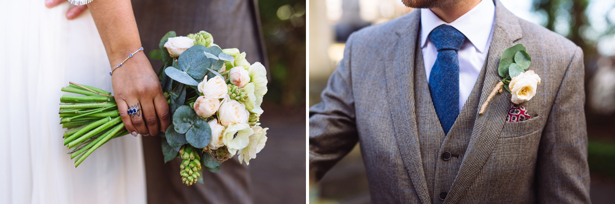 Groom and Bride Wedding Suit and Flower Details