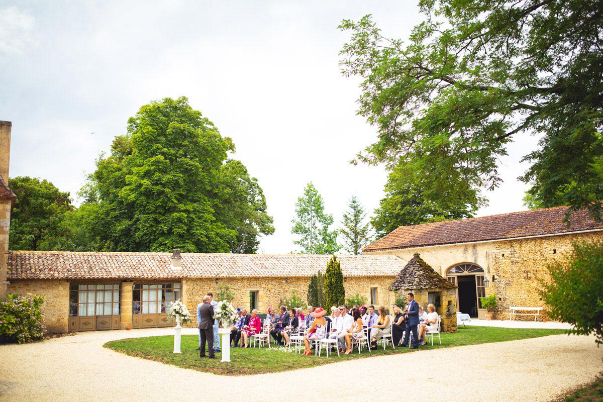 outdoor wedding ceremony Chateau france