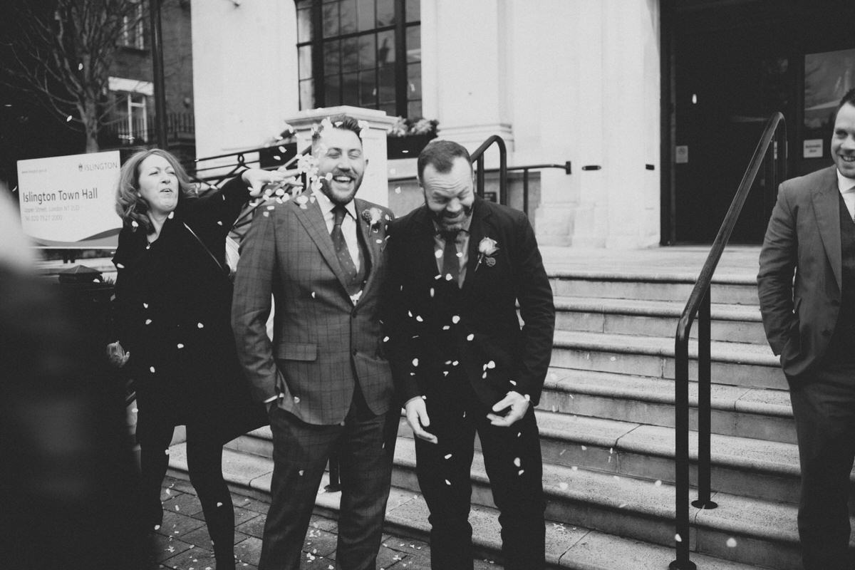gay wedding confetti photography islington town hall