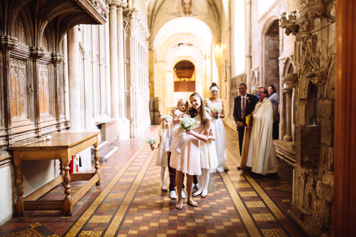 the bridal party arrive st albans cathedral