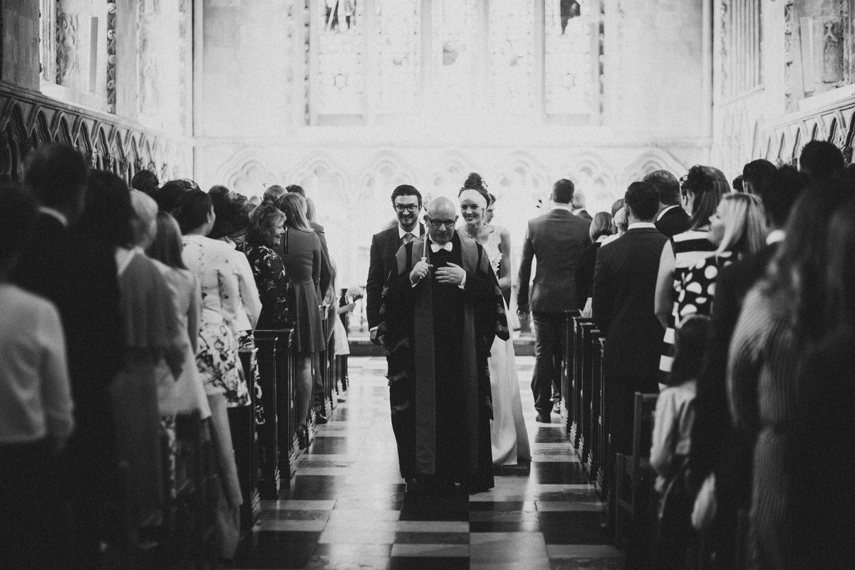 leaving the wedding ceremony st albans cathedral