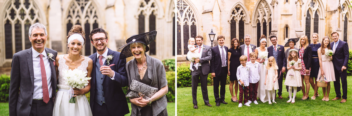wedding group shots in the grounds of st albans cathedral