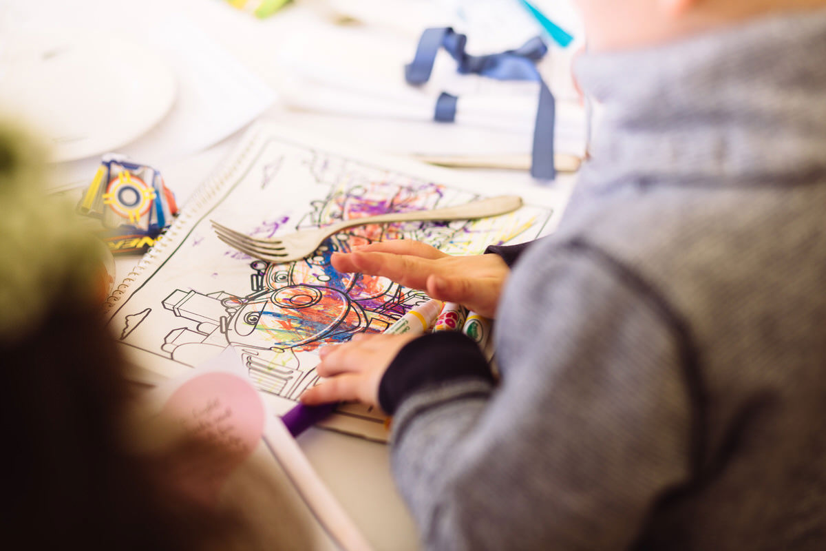 childrens activities at a wedding colouring in