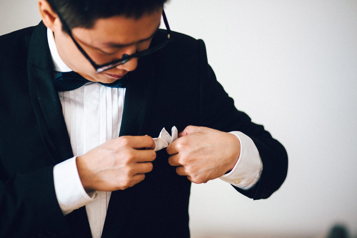 chinese wedding black tie groom