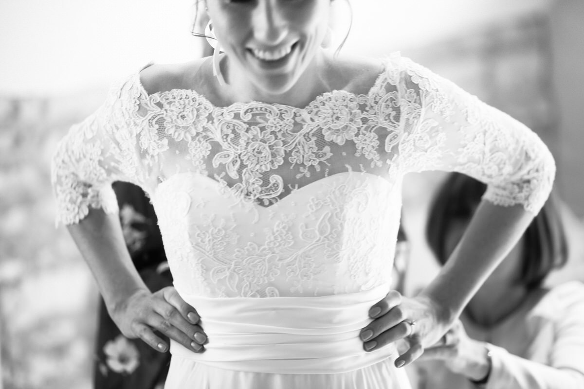 bride lace wedding dress detail